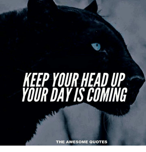 Keep Your Head Up Your Day Iscoming The Awesome Quotes Head Meme