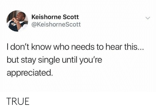 Dank, True, and Single: Keishorne Scott  @KeishorneScott  I don't know who needs to hear this...  but stay single until you're  appreciated. TRUE