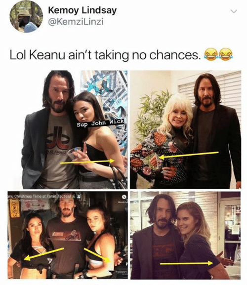 Christmas, John Wick, and Lol: Kemoy Lindsay  @KemziLinzi  Lol Keanu ain't taking no chances.  Sup John Wick  O JUAREZ  anu Christmas Time at Taran Toctical  43 comments  Wash  2G 873