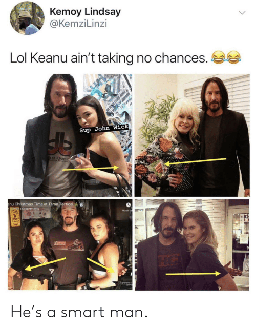 Christmas, John Wick, and Lol: Kemoy Lindsay  @KemziLinzi  Lol Keanu ain't taking no chances.  Sup John Wick  LIO JUAREZ  anu Christmas Time at Taran Tactical  views 433 comments  Watch la  TICH  ZG873 He's a smart man.