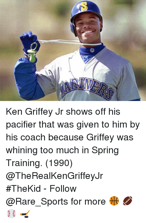 2b9b880df6 Ken Griffey Jr Shows Off His Pacifier That Was Given to Him by His ...
