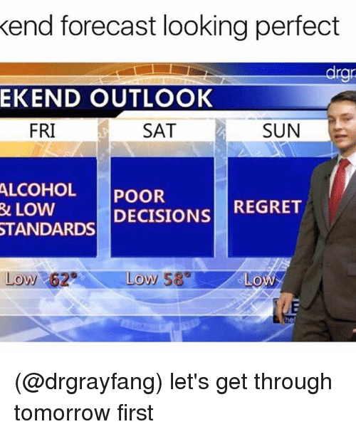 Regret, Alcohol, and Forecast: kend forecast looking perfect  drgni  EKEND OUTLOOK  SAT  SUN  FRI  ALCOHOL  POOR  REGRET  DECISIONS  R& LOW  STANDARDS  Low 2 Low 589  GLOWS (@drgrayfang) let's get through tomorrow first