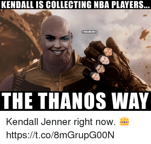 Kendall Jenner, Memes, and Nba: KENDALL IS COLLECTING NBA PLAYERS  ONBAMEMES  THE THANOS WAY Kendall Jenner right now. 👑 https://t.co/8mGrupG00N