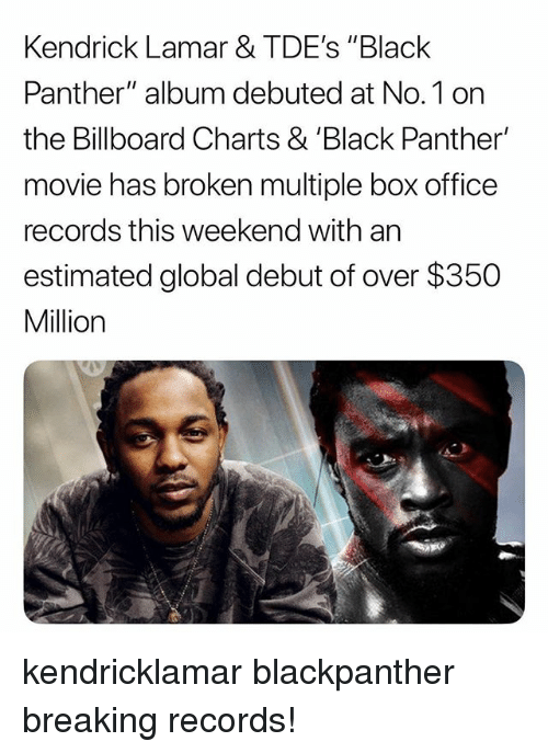 "Billboard, Kendrick Lamar, and Memes: Kendrick Lamar & TDE's ""Black  Panther"" album debuted at No.1 on  the Billboard Charts & 'Black Panther'  movie has broken multiple box office  records this weekend with an  estimated global debut of over $350  Million kendricklamar blackpanther breaking records!"