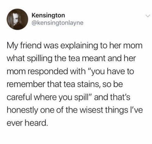 """Mom, Her, and Tea: Kensington  @kensingtonlayne  My friend was explaining to her mom  what spilling the tea meant and her  mom responded with """"you have to  remember that tea stains, so bee  careful where you spill"""" and that's  honestly one of the wisest things I've  ever heard"""