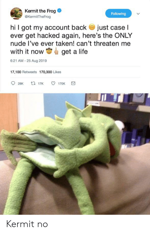 Kermit the Frog, Life, and Taken: Kermit the Frog  @KermitTheFrog  Following  hi I got my account back just caseI  ever get hacked again, here's the ONLY  nude l've ever taken! can't threaten me  with it now  get a life  6:21 AM -25 Aug 2019  17,100 Retweets 170,300 Likes  t 17K  28K  170K Kermit no