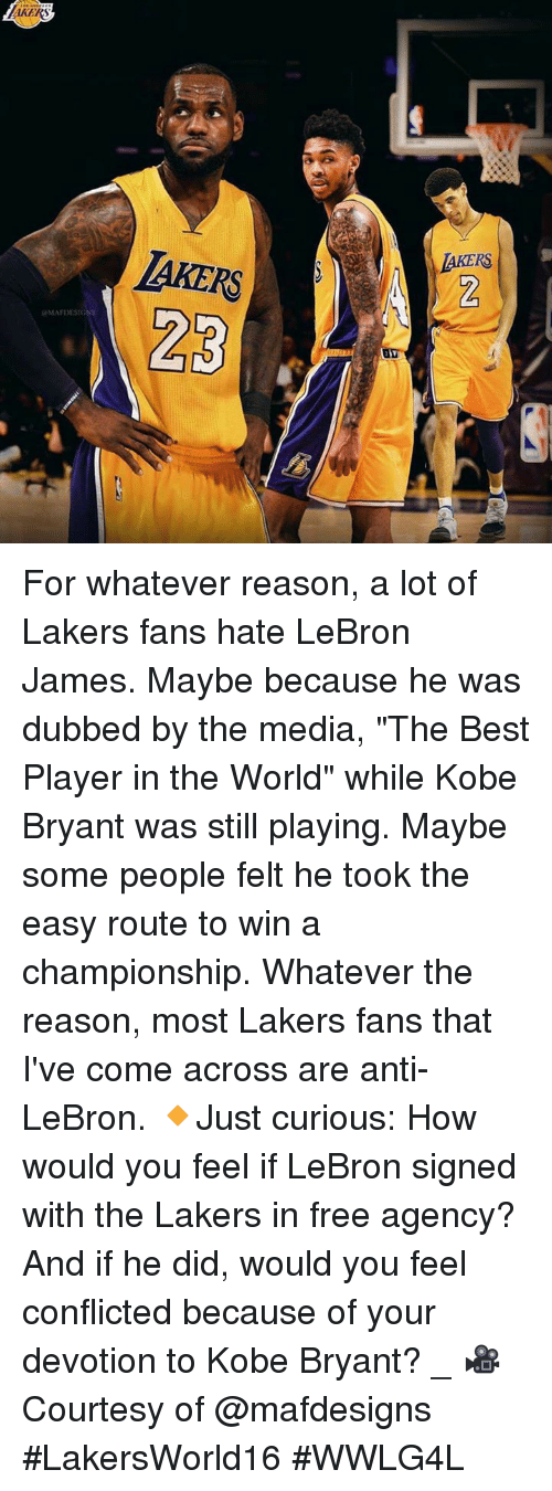 """Kobe Bryant, Los Angeles Lakers, and LeBron James: KERS  JAKERS  MAFDESIGN For whatever reason, a lot of Lakers fans hate LeBron James. Maybe because he was dubbed by the media, """"The Best Player in the World"""" while Kobe Bryant was still playing. Maybe some people felt he took the easy route to win a championship. Whatever the reason, most Lakers fans that I've come across are anti-LeBron.   🔸Just curious: How would you feel if LeBron signed with the Lakers in free agency? And if he did, would you feel conflicted because of your devotion to Kobe Bryant?  _ 🎥 Courtesy of @mafdesigns  #LakersWorld16 #WWLG4L"""