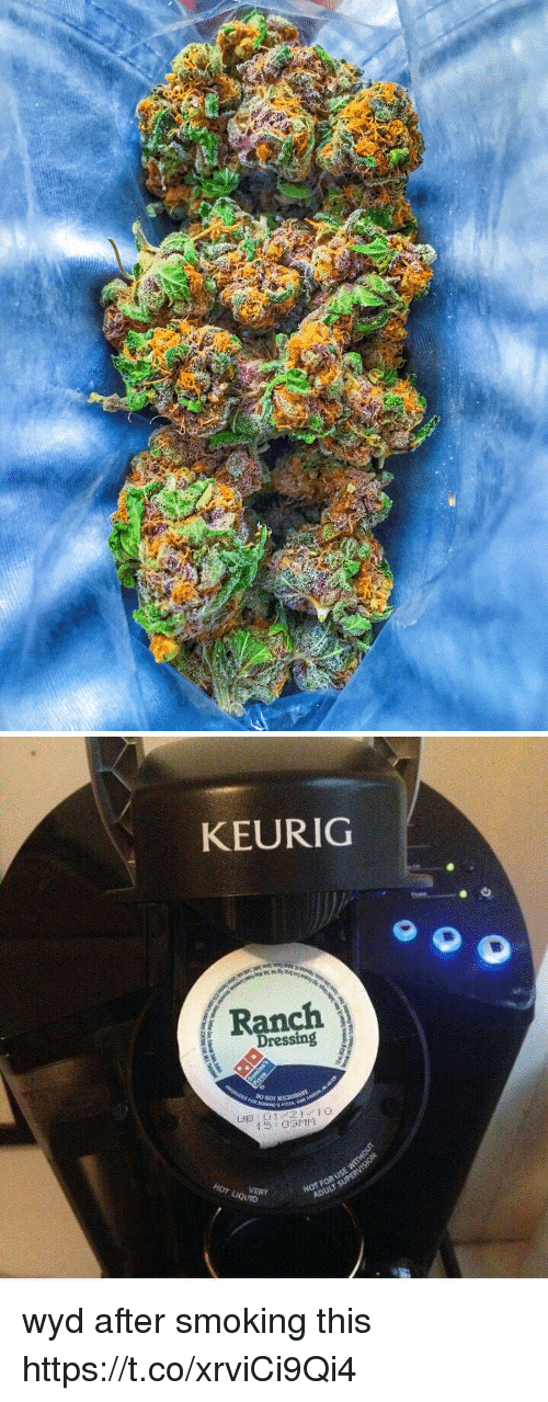 Smoking, Wyd, and Keurig: KEURIG  Dressing  Nor  USE  ADULT  HOT VERY wyd after smoking this https://t.co/xrviCi9Qi4