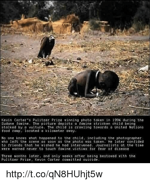 kevin carter the prize winning photograph The objective is to promote reflection on the photographic image and it understands of reality, encouraging discussion and confrontation of the concepts of reality and aesthetics, so present in.