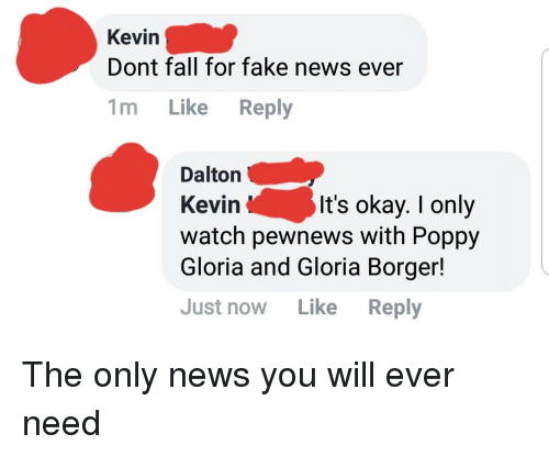 Fake, Fall, and News: Kevin  Dont fall for fake news ever  1m Like Reply  Dalton  Kevin  watch pewnews with Poppy  Gloria and Gloria Borger!  Just now Like Reply  It's okay. I only