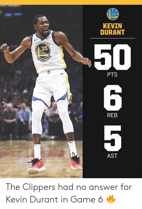 Kevin Durant, Memes, and Clippers: KEVIN  DURANT  50  6  5  35  PTS  REB  AST The Clippers had no answer for Kevin Durant in Game 6 🔥