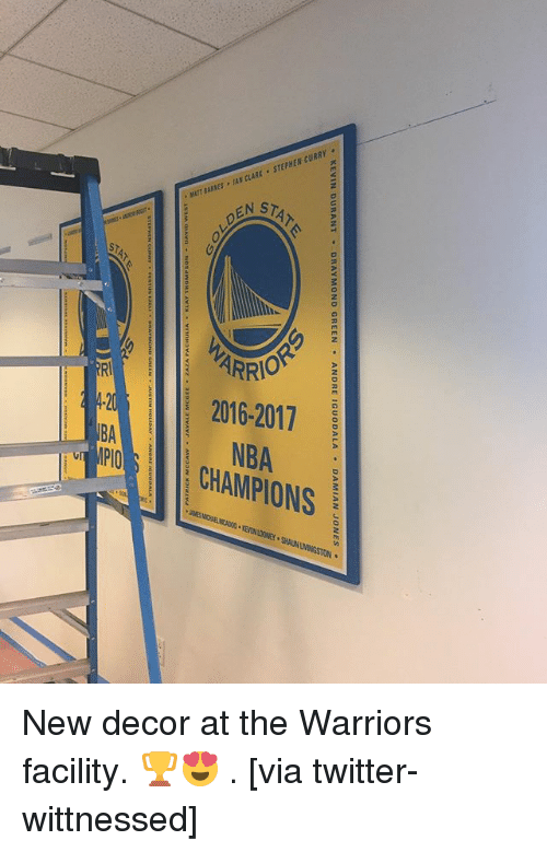 Basketball, Golden State Warriors, and Kevin Durant: , KEVIN DURANT . DRAY MOND GREEN . ANDRE IGUODALA * DAMIAN JONES .  0  2B New decor at the Warriors facility. 🏆😍 . [via twitter-wittnessed]