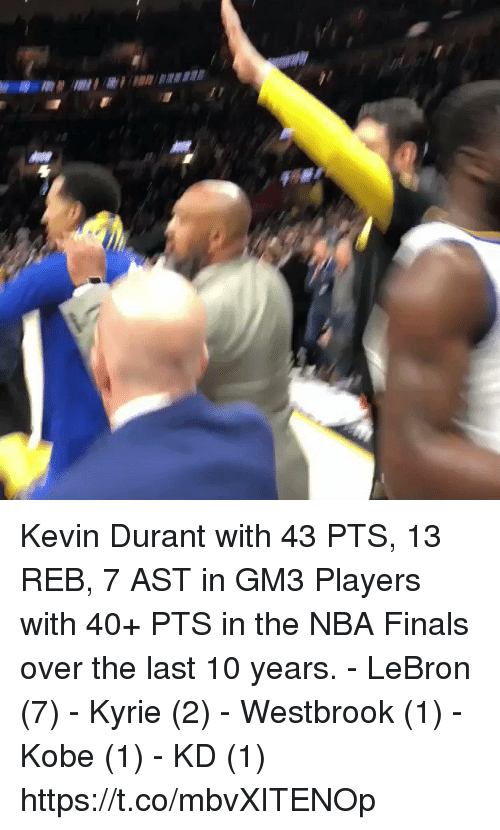 Finals, Kevin Durant, and Memes: Kevin Durant with 43 PTS, 13 REB, 7 AST in GM3  Players with 40+ PTS in the NBA Finals over the last 10 years. - LeBron (7) - Kyrie (2) - Westbrook (1) - Kobe (1) - KD (1)   https://t.co/mbvXITENOp