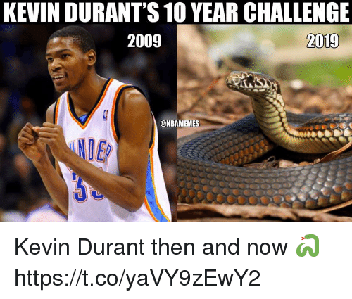 4aa195af6d8 KEVIN DURANT S 10 YEAR CHALLENGE 2009 2019 Kevin Durant Then and Now ...