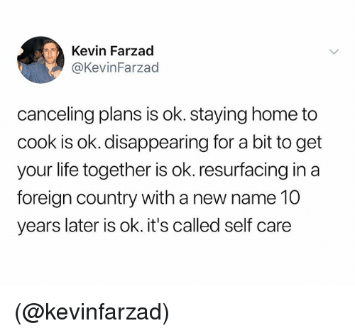 Life, Home, and Dank Memes: Kevin Farzad  @KevinFarzad  canceling plans is ok. staying home to  cook is ok. disappearing for a bit to get  your life together is ok. resurfacing in a  foreign country with a new name 10  years later is ok. it's called self care (@kevinfarzad)