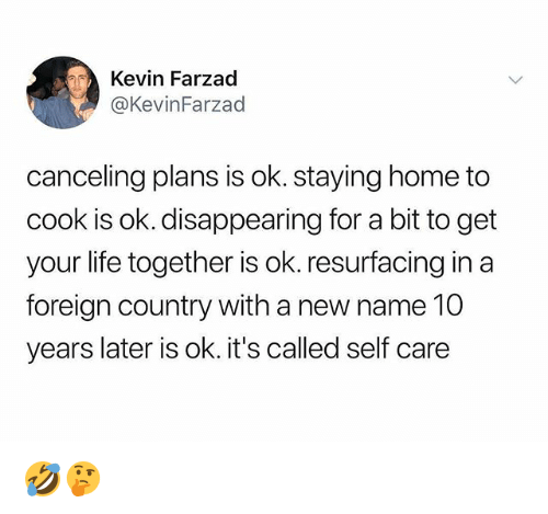 Life, Memes, and Home: Kevin Farzad  @KevinFarzad  canceling plans is ok. staying home to  cook is ok. disappearing for a bit to get  your life together is ok. resurfacing in a  foreign country with a new name 10  years later is ok. it's called self care 🤣🤔
