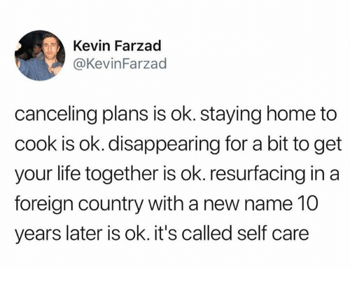 Dank, Life, and Home: Kevin Farzad  KevinFarzad  canceling plans is ok. staying home to  cook is ok. disappearing for a bit to get  your life together is ok. resurfacing in a  foreign country with a new name 10  years later is ok. it's called self care