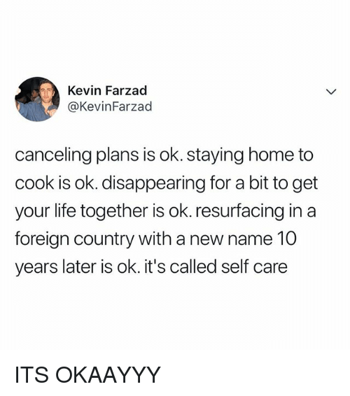 Life, Home, and Relatable: Kevin Farzad  @KevinFarzad  canceling plans is ok. staying home to  cook is ok. disappearing for a bit to get  your life together is ok. resurfacing in a  foreign country with a new name 10  years later is ok. it's called self care ITS OKAAYYY