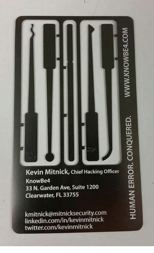 Kevin Mitnick Chief Hacking Officer O KnowBe4 33 N Garden