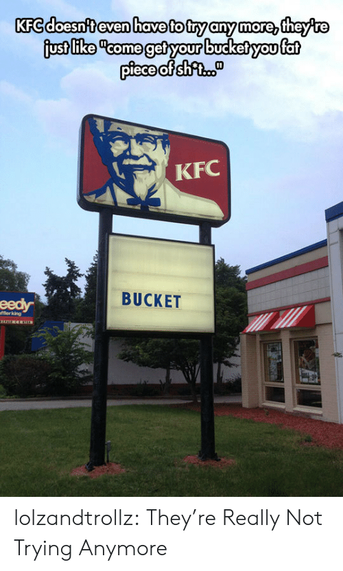 "Kfc, Tumblr, and Blog: KFC doesn't even have to try any more, theyre  just like ""come get your bucket you fat  piece of shfi.  KFC  BUCKET  eedy  fflerking lolzandtrollz:  They're Really Not Trying Anymore"