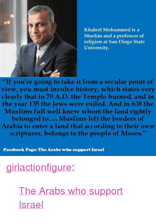"""Facebook, Muslim, and Tumblr: Khaleel Mohammed is a  Muslim and a professor of  religion at San Diego State  University.  """"If you're going to take it from a secular point of  view, you must involve history, which states very  clearly that in 70 A.D. the Temple burned, and in  the year 135 the Jews were exiled. And in 638 the  Muslims full well knew whom the land rightly  belonged to.... Muslims left the borders of  Arabia to enter a land that acconding io their own  scriptures, belongs to the people of Moses.""""  Facebook Page: The Arabs who support Israel <p><a href=""""http://girlactionfigure.tumblr.com/post/116159167635/the-arabs-who-support-israel"""" class=""""tumblr_blog"""">girlactionfigure</a>:</p>  <blockquote><p><a href=""""https://www.facebook.com/TheArabsWhoSupportIsraelAndWhy?fref=photo"""">The Arabs who support Israel</a></p></blockquote>"""