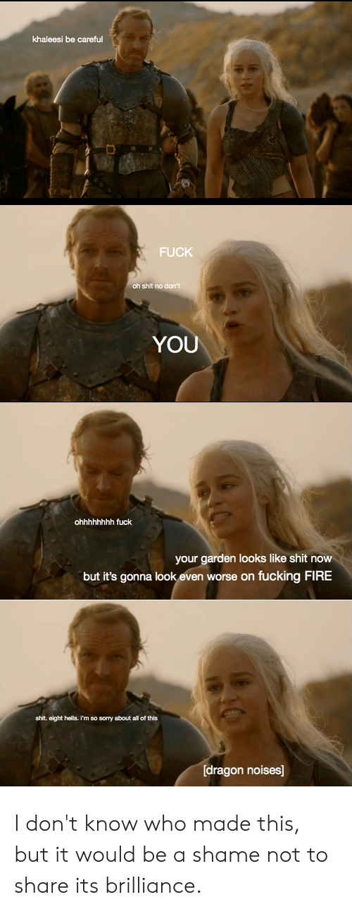 Fire, Sorry, and Be Careful: khaleesi be careful  FUCK  oh shit no don't  YOU  ohhhhhhhh fuck  your garden looks like shit now  but it's gonna look even worse on fucking FIRE  shit. eight hells. I'm so sorry about all of this  [dragon noises] I don't know who made this, but it would be a shame not to share its brilliance.