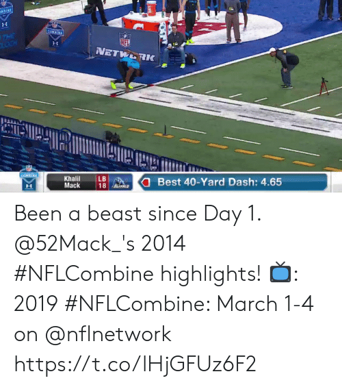 Memes, Best, and Been: Khalil  Mack  LB  Best 40-Yard Dash: 4.65 Been a beast since Day 1.  @52Mack_'s 2014 #NFLCombine highlights!  📺: 2019 #NFLCombine: March 1-4 on @nflnetwork https://t.co/lHjGFUz6F2