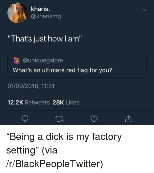 "Blackpeopletwitter, Dick, and How: kharis.  @kharismg  ""That's just how I am""  @uniquegalore  What's an ultimate red flag for you?  01/09/2018, 11:31  12.2K Retweets 28K Likes ""Being a dick is my factory setting"" (via /r/BlackPeopleTwitter)"