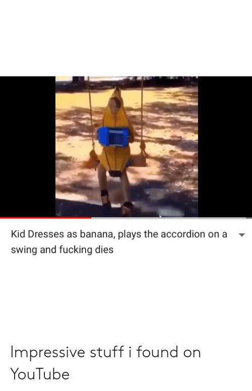 Kid Dresses as Banana Plays the Accordion on a Swing and