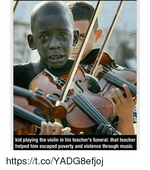 Kid Playing the Violin in His Teacher's Funeral That Teacher