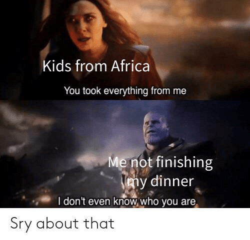 Africa, Reddit, and Kids: Kids from Africa  You took everything from me  Me not finishing  my dinner  I don't even know who you are Sry about that