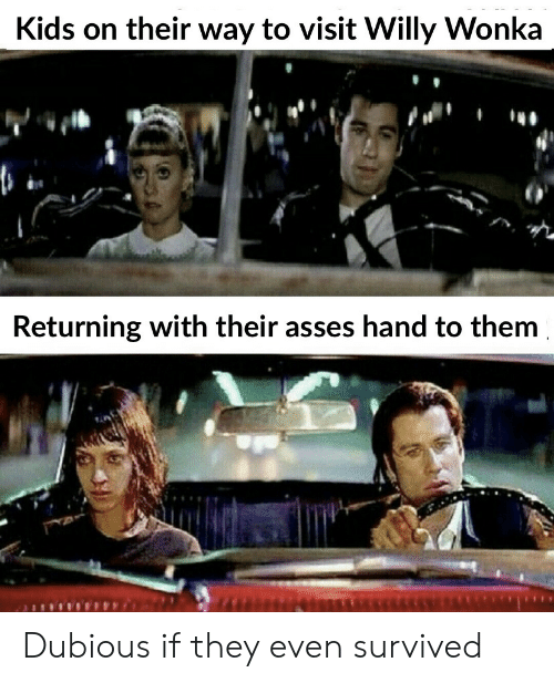 Willy Wonka, Kids, and Them: Kids on their way to visit Willy Wonka  Returning with their asses hand to them Dubious if they even survived
