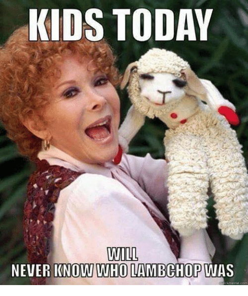 Memes, Kids, and Today: KIDS TODAY  WILL  NEVER KNOW WHO LAMBGHOP WAS