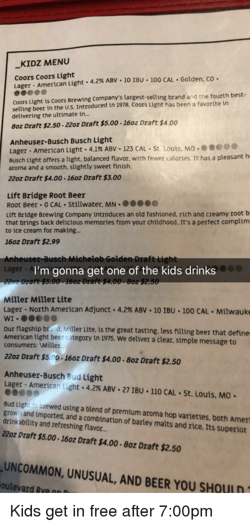 KIDZ MENU Coors Coors Light Lager-American Light 42% ABV-10