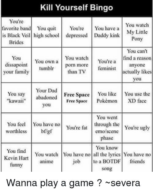 25 best memes about kill yourself bingo kill yourself bingo animals anime and dad kill yourself bingo youre favorite band you solutioingenieria Images