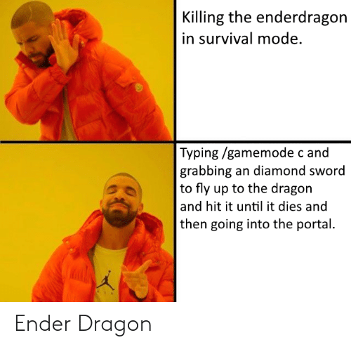 Reddit, Diamond, and Portal: Killing the enderdragon  in survival mode.  Typing /gamemode c and  grabbing an diamond sword  to fly up to the dragon  and hit it until it dies and  then going into the portal. Ender Dragon