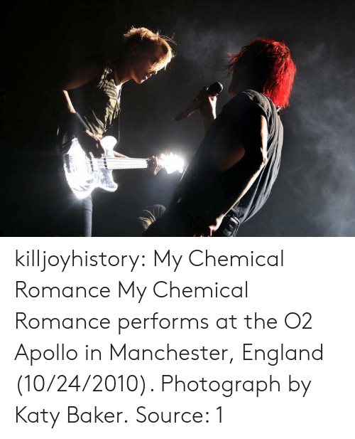 England, Facebook, and Tumblr: killjoyhistory: My Chemical Romance My Chemical Romance performs at the O2 Apollo in Manchester, England (10/24/2010). Photograph by Katy Baker. Source: 1