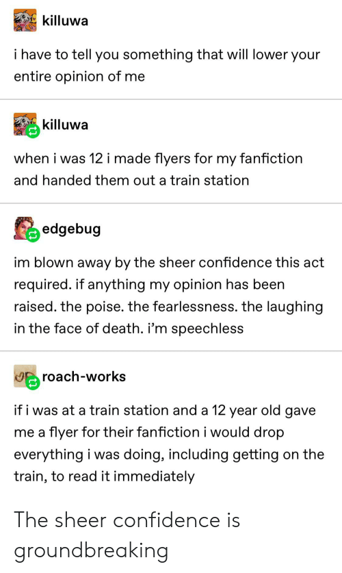 Confidence, Fanfiction, and Tumblr: killuwa  i have to tell you something that will lower your  entire opinion of me  killuwa  when i was 12 i made flyers for  fanfiction  my  and handed them out a train station  edgebug  im blown away by the sheer confidence this act  required. if anything my opinion has been  raised. the poise. the fearlessness. the laughing  in the face of death. i'm speechless  roach-works  if i was at a train station and a 12 year old gave  me a flyer for their fanfiction i would drop  everything i was doing, including getting on the  train, to read it immediately The sheer confidence is groundbreaking