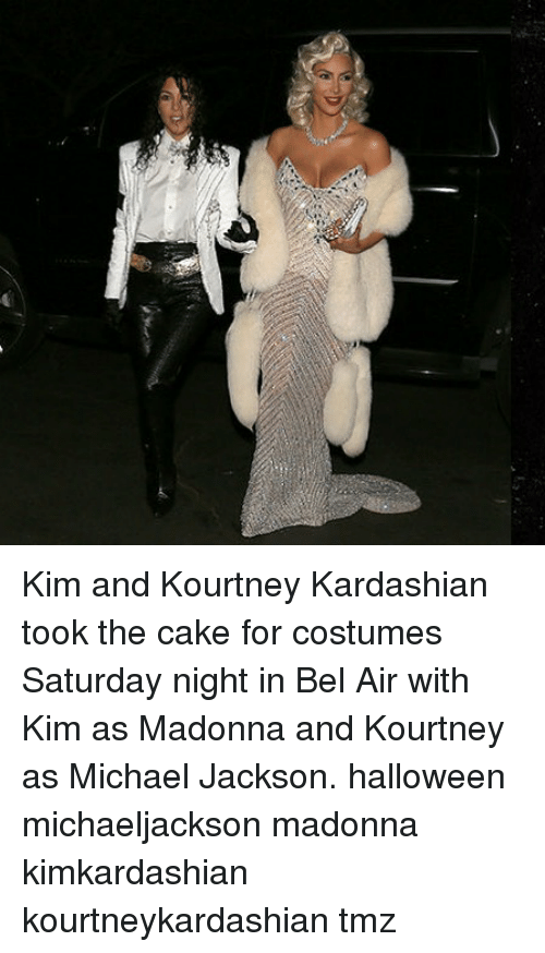 Halloween, Kourtney Kardashian, and Madonna: Kim and Kourtney Kardashian took the cake for costumes Saturday night in Bel Air with Kim as Madonna and Kourtney as Michael Jackson. halloween michaeljackson madonna kimkardashian kourtneykardashian tmz