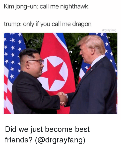 Friends, Funny, and Kim Jong-Un: Kim jong-un: call me nighthawk  trump: only if you call me dragon  drgrayfang Did we just become best friends? (@drgrayfang)