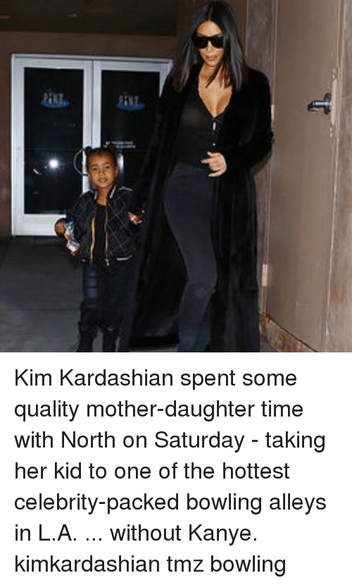 Kanye, Kim Kardashian, and Memes: Kim Kardashian spent some quality mother-daughter time with North on Saturday - taking her kid to one of the hottest celebrity-packed bowling alleys in L.A. ... without Kanye. kimkardashian tmz bowling