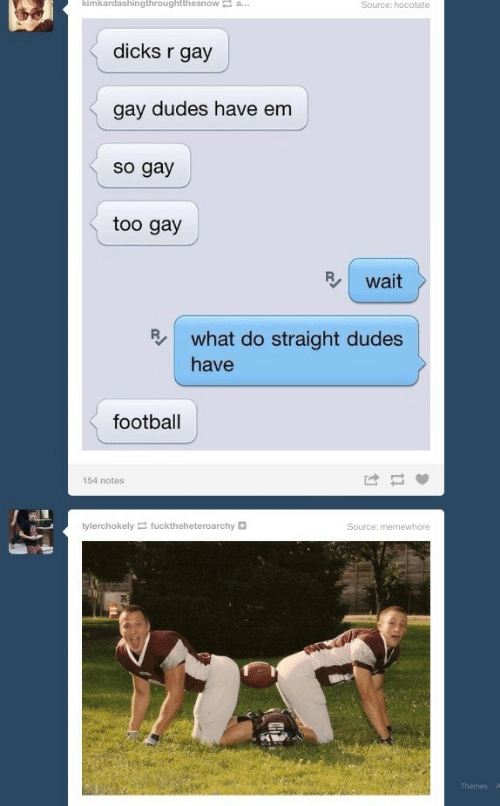 Dicks, Football, and Gay: kimkardashingthroughtthesnowa..  dicks r gay  gay dudes have em  so gay  too gay  B wait  R what do straight dudes  have  football  154 notes  tylerchokely fucktheheteroarchy  Source: memewhore  Themes
