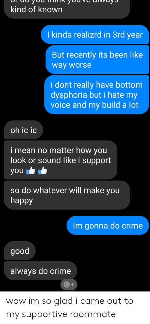 Crime, Roommate, and Wow: kind of known  I kinda realizrd in 3rd year  But recently its been like  way worse  I dont really have bottom  dysphoria but i hate my  voice and my build a lot  oh ic ic  i mean no matter how vou  look or sound like i support  ou  so do whatever will make you  happy  m gonna do crime  good  always do crime wow im so glad i came out to my supportive roommate