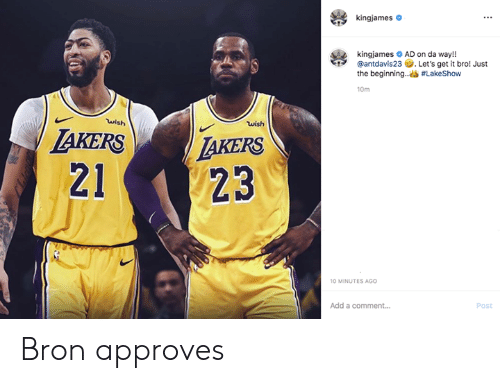 Los Angeles Lakers, Add, and Comment: kingjames  kingjames AD on da way!!  @antdavis23 Let's get it bro! Just  the beginning..#LakeShow  10m  wish  wish  AKERS  LAKERS  23  21  10 MINUTES AGO  Add a comment....  Post Bron approves