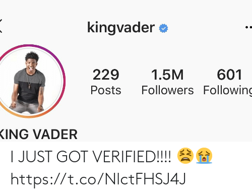 Memes, 🤖, and Got: kingvader  229  1.5M  601  Followers Following  Posts  ING VADER I JUST GOT VERIFIED!!!! 😫😭 https://t.co/NlctFHSJ4J