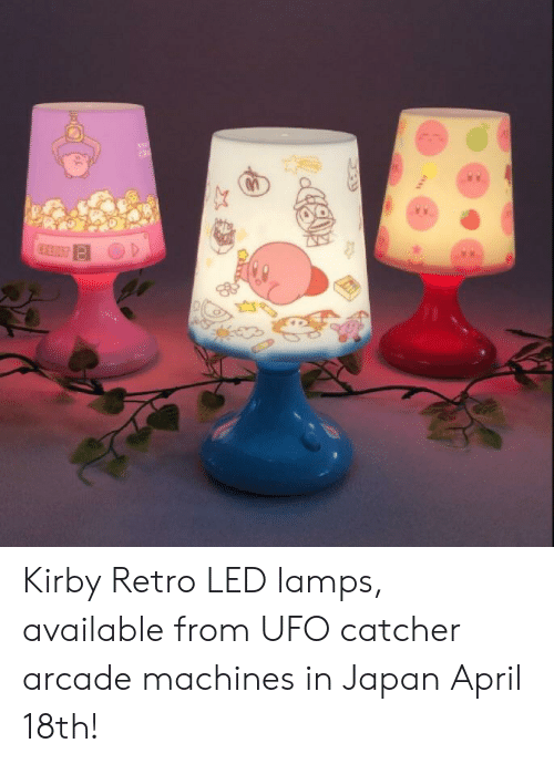 Japan, April, and Kirby: Kirby Retro LED lamps, available from UFO catcher arcade machines in Japan April 18th!
