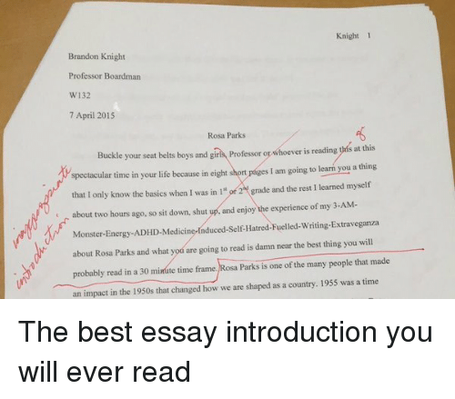 Essay On Healthy Foods Energy Funny And Life Knight  Brandon Knight Professor Boardman W   April The Yellow Wallpaper Critical Essay also Thesis Statement Persuasive Essay Knight  Brandon Knight Professor Boardman W  April  Rosa  What Is Thesis In An Essay