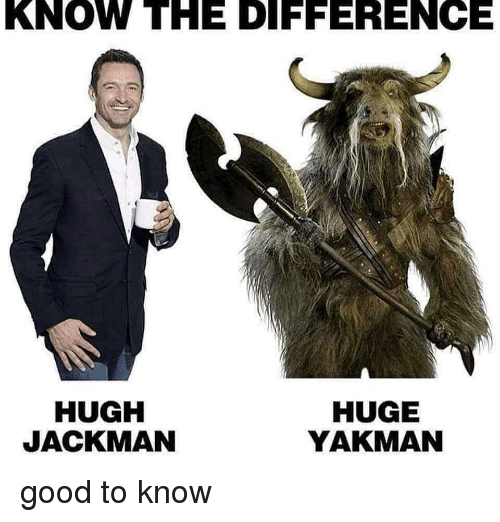 Memes, Hugh Jackman, and Good: KNOW THE DIFFERENCE  HUGH  JACKMAN  HUGE  YAKMAN good to know