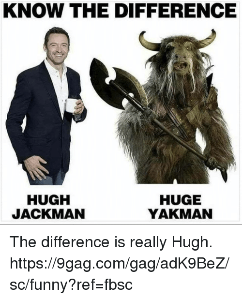 9gag, Dank, and Funny: KNOW THE DIFFERENCE  HUGH  JACKMAN  HUGE  YAKMAN The difference is really Hugh.  https://9gag.com/gag/adK9BeZ/sc/funny?ref=fbsc