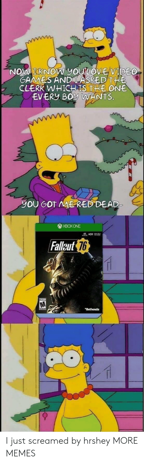 Dank, Love, and Memes: KNOW yOU LOVE VIDE  GAMMESAND LASKED THE  CLERK WHICH IS THE ONE  EVERY BOy WANTS.  yOU GOT ME RED DEAD  XBOXONE  Falleut  76  Bethesda I just screamed by hrshey MORE MEMES